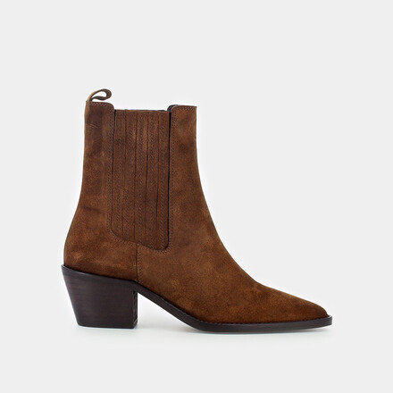 Heeled boots with gathers in brown suede