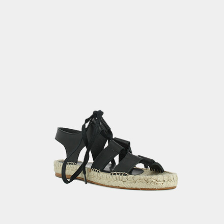 Espadrilles with crossed lace in black leather