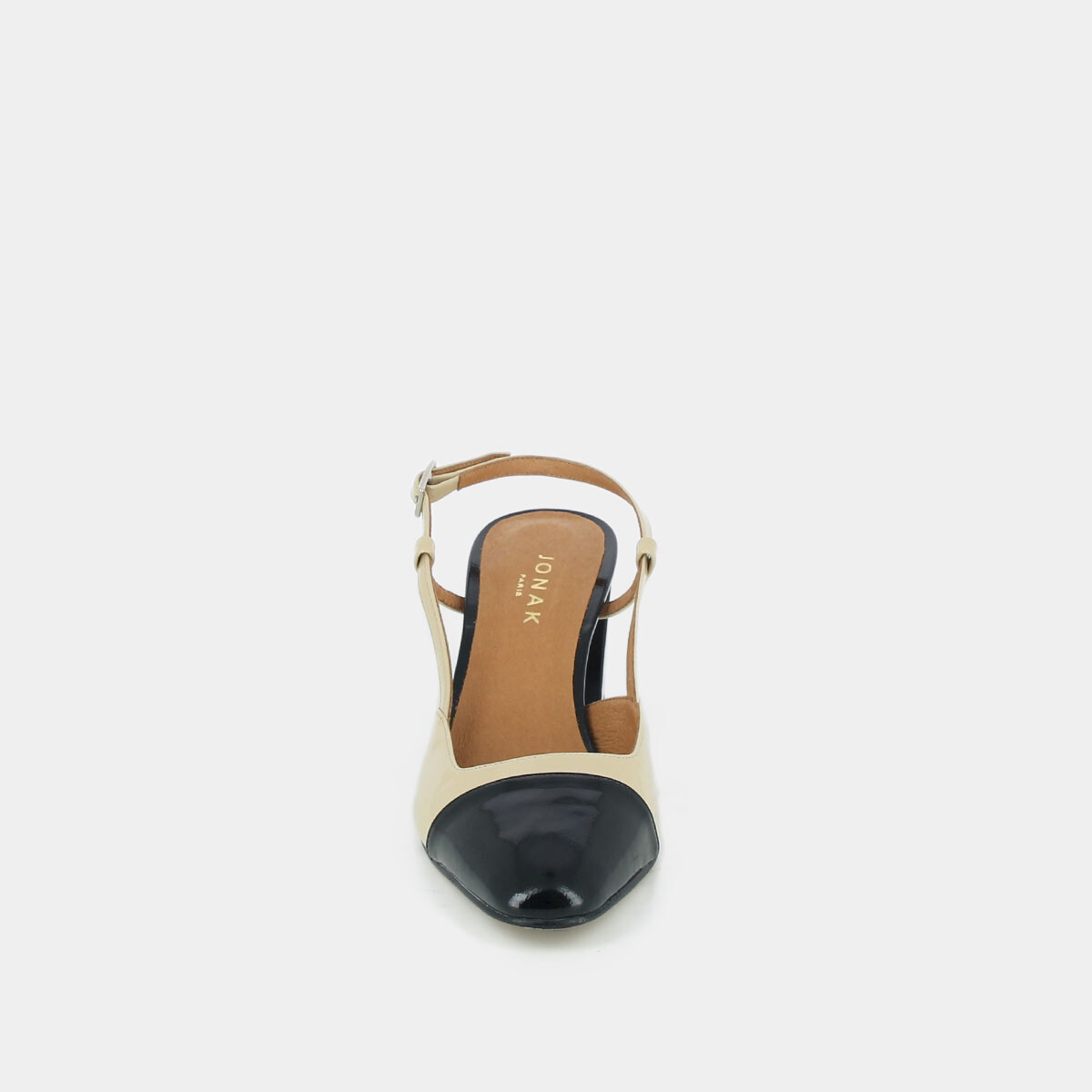 Heeled babies in patent black and beige leather