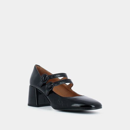 Heeled Mary Janes in black glossy leather