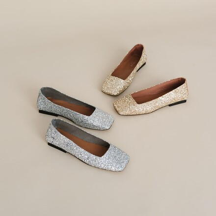 Ballet flats with glitters silver