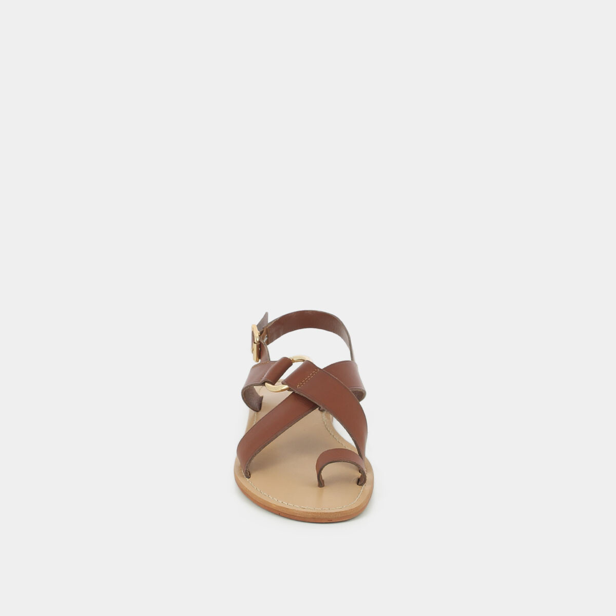 Cross-strap sandals and ring in cognac leather