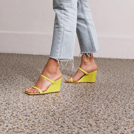 Espadrilles with thin straps in yellow leather
