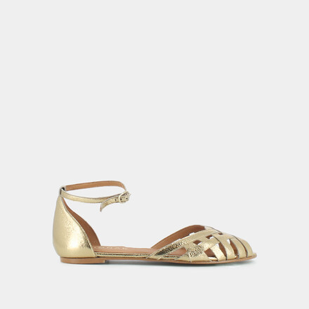 Sandals with flat heel in gold leather