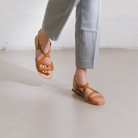 Sandals in camel leather