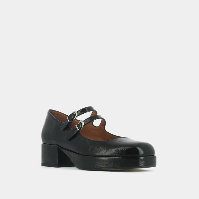 Heeled mary janes with straps in black leather