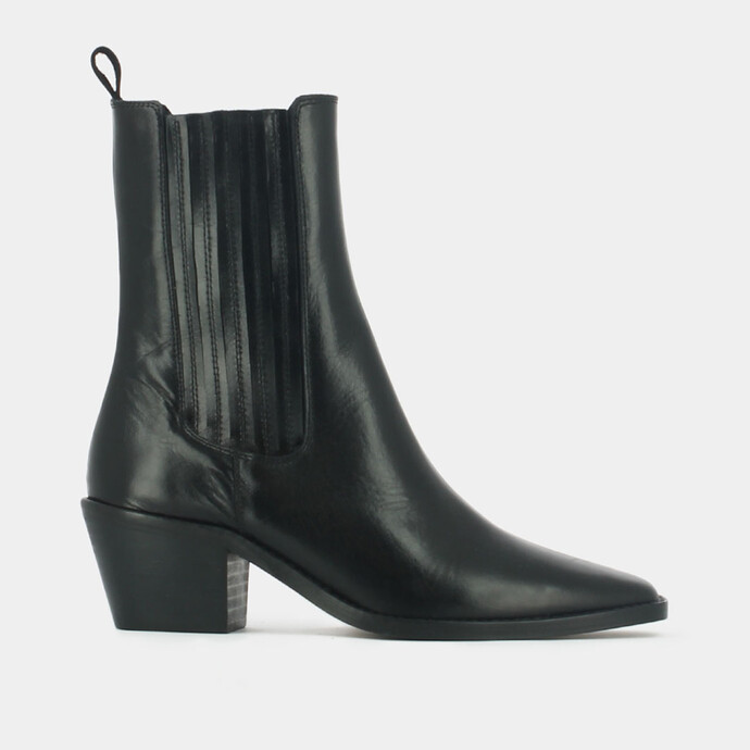 Lowboots with heel and pointed toe in black leather
