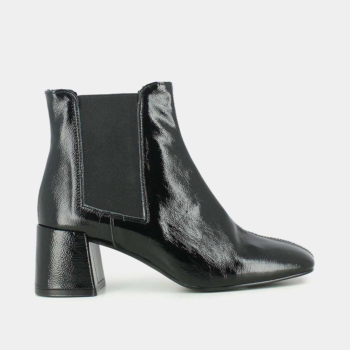 100% de qualité supérieure une performance supérieure Nouvelles Arrivées Black patent leather ankle boots , with elasticated panel JONAK
