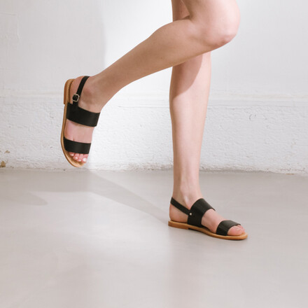b6be40866 ... Black leather sandals with thick straps black