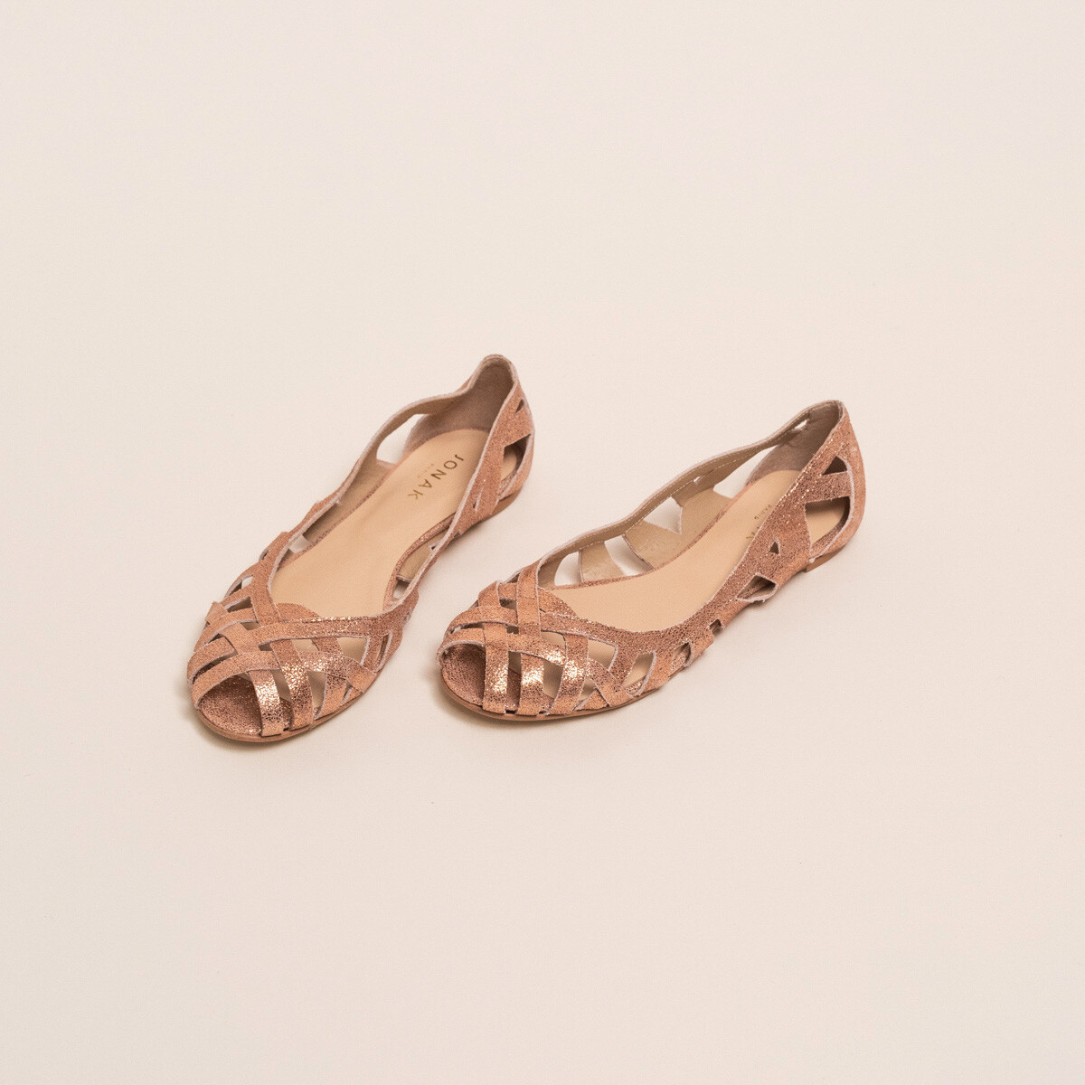 Cut-out ballet flats with laminated copper upper - Jonak cuivre