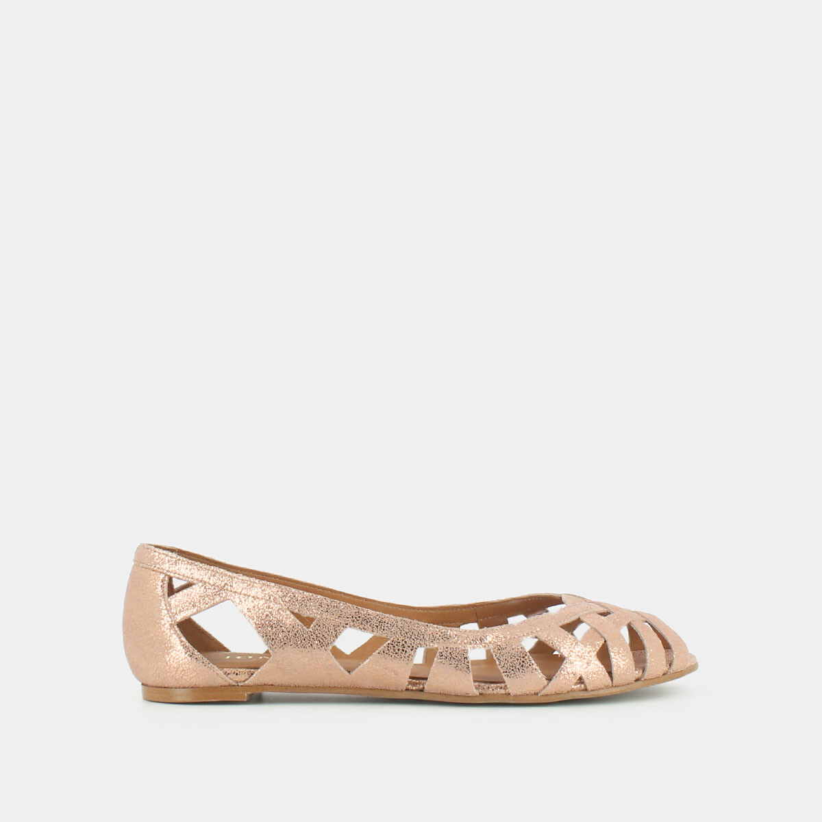 Cut-out ballet flats with laminated copper upper copper