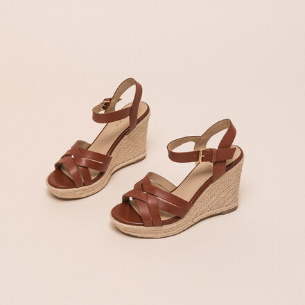 Brown-coloured leather espadrilles with platform sole marron