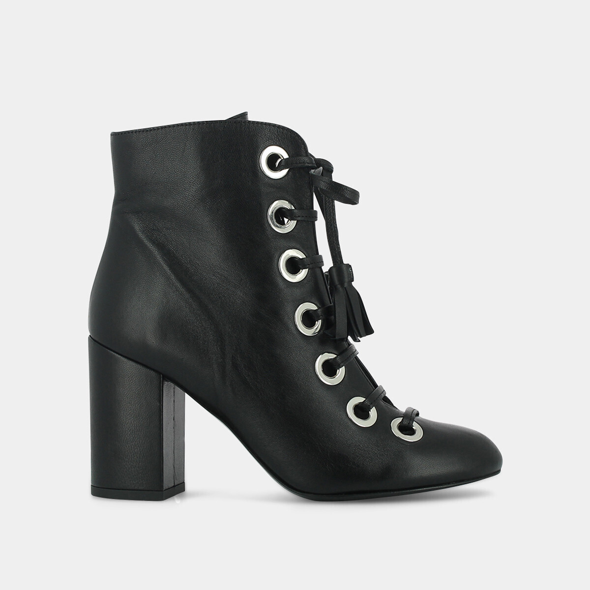High heeled lace up boots with silver eyelets in black leather - Jonak noir