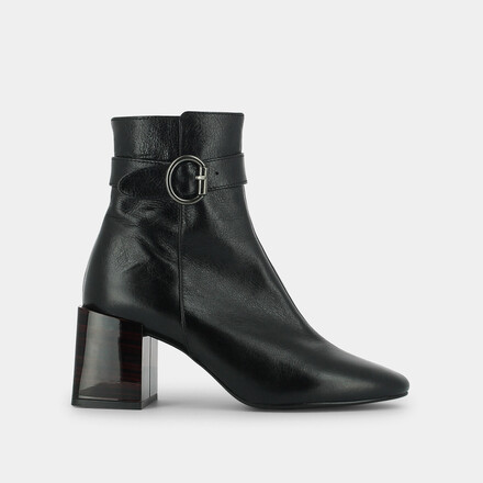 High-heeled boots with buckle in black leather black