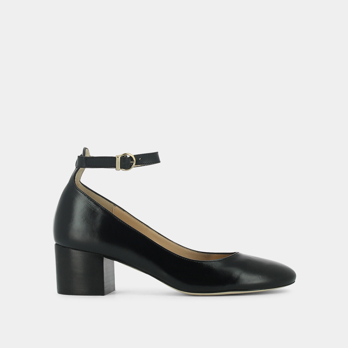Mary Janes with ankle strap in black leather - Jonak noir