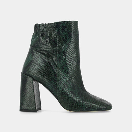 High-heeled boots in green reptile effect leather green