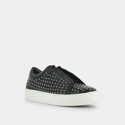 Sneakers with studs in black leather black