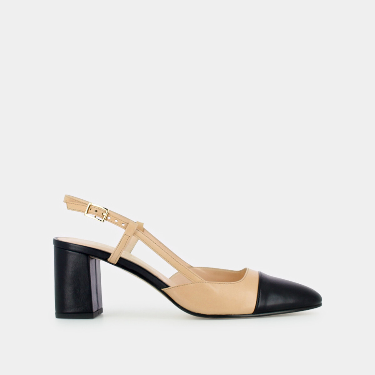 7f35f74f2bae7e Mary Janes with heel in black and beige leather beige/noir ...