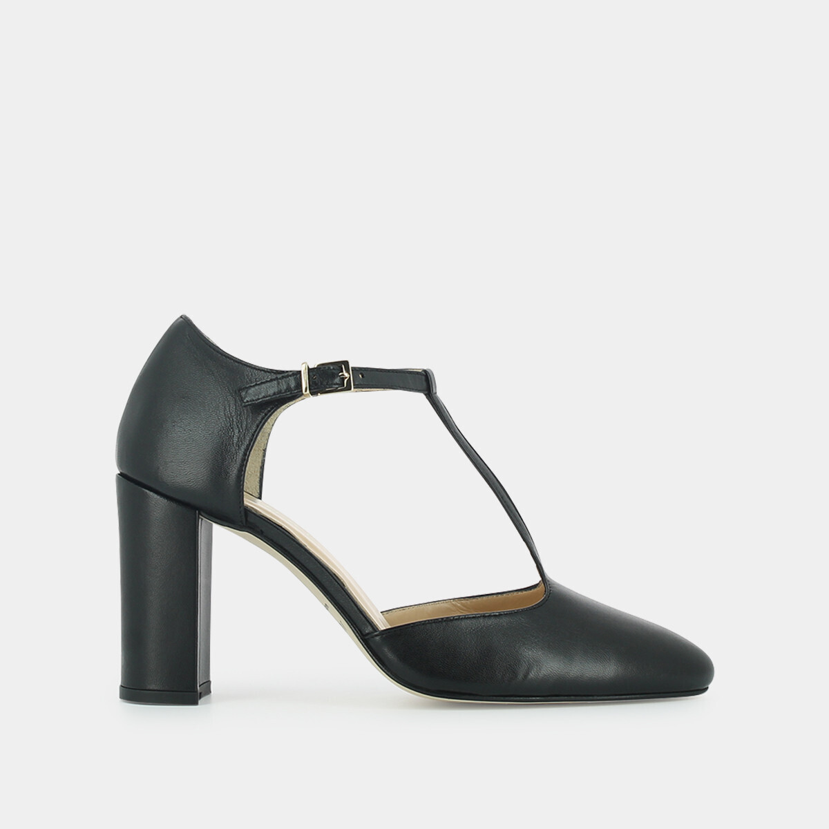 best place special section premium selection T-bar shoes with high heel , in black leather JONAK