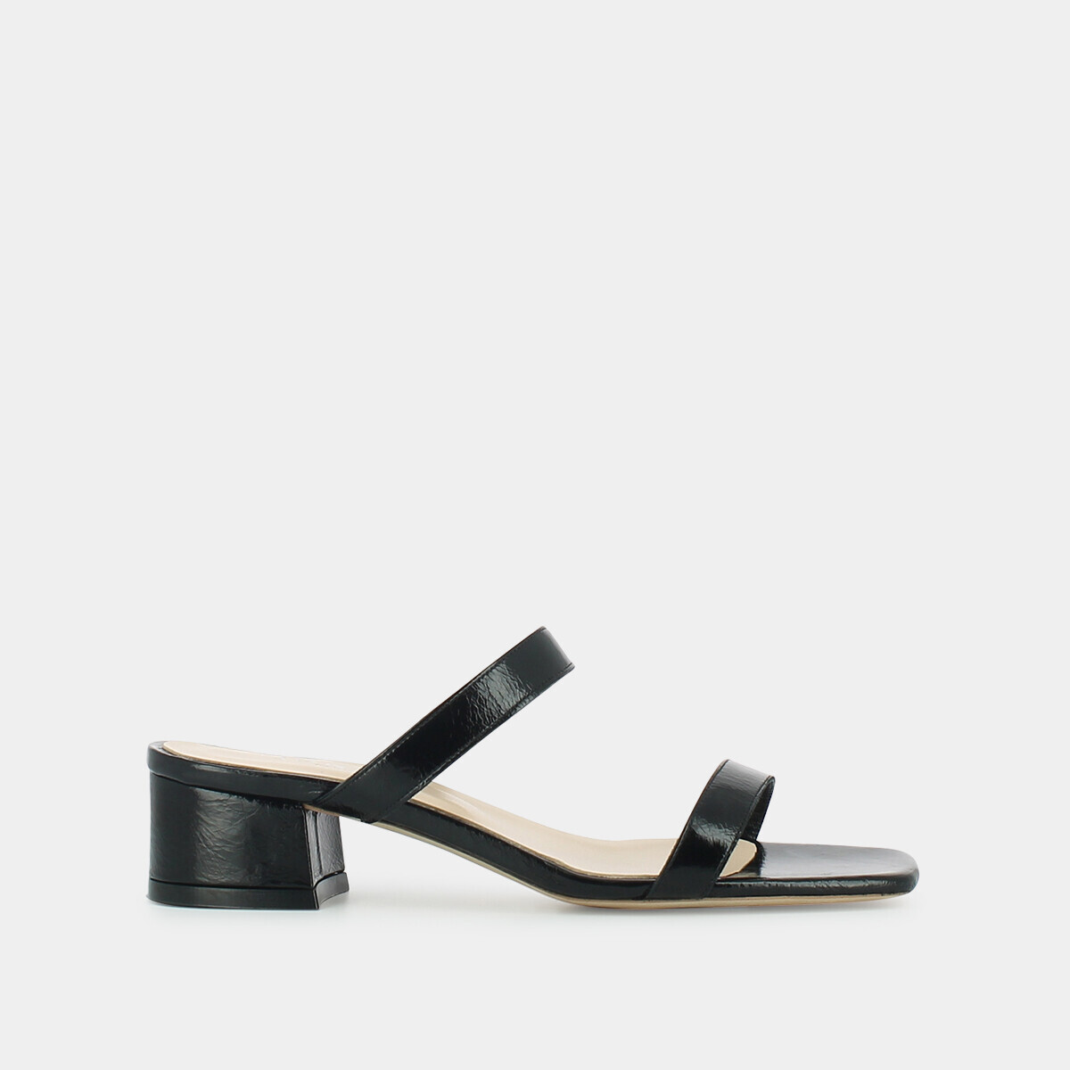 Moccasins with buckle , in black distressed leather JONAK