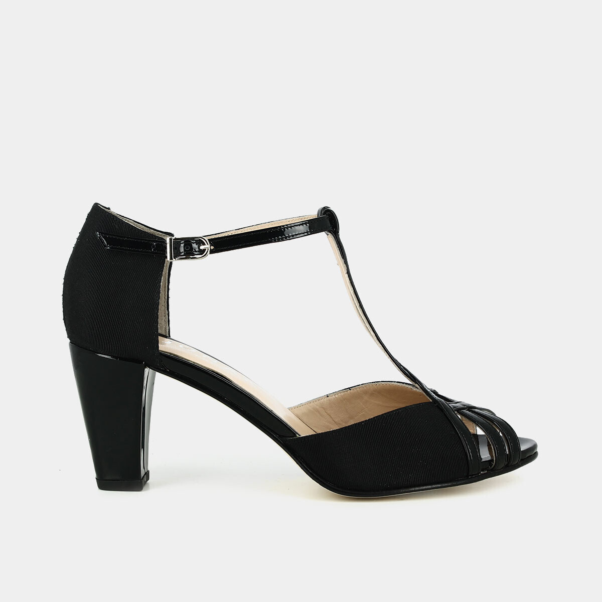 d6cd7418331 Blended material T-bar shoes in black patent leather and textile - Jonak  noir